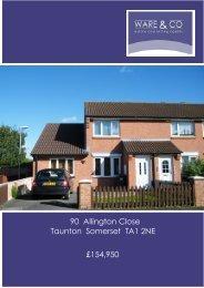 90 Allington Close Taunton Somerset TA1 2NE £154,950