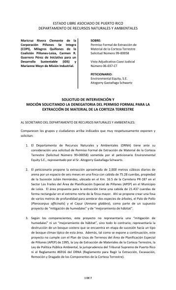 Env Equity - Solicitud de Intervención (23 marzo ... - Lists Indymedia