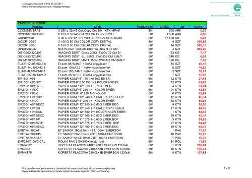 Lista wyprzedażowa z dnia 15.02.2011 r. (pdf 224 kB) - Europapier