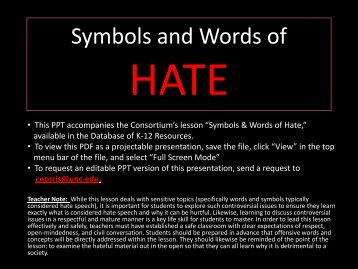 Symbols and Words of Hate - Database of K-12 Resources