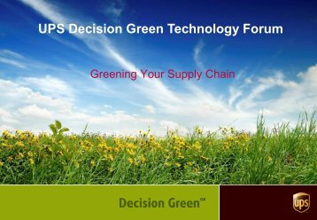 Sustainable from the Beginning - UPS Pressroom