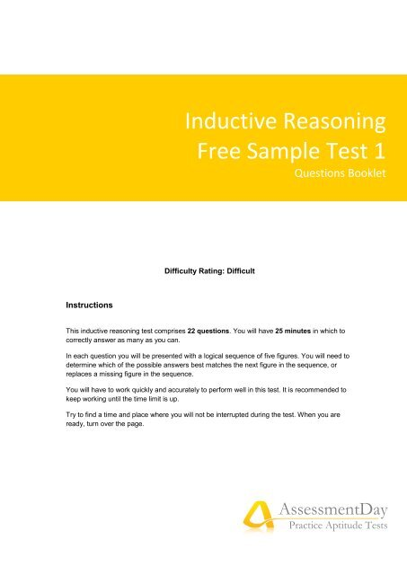 Inductive Reasoning Test 1 Questions (PDF) - Aptitude Test