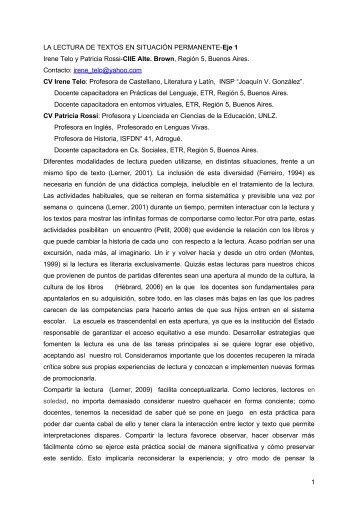 LA LECTURA DE TEXTOS EN SITUACIÓN PERMANENTE