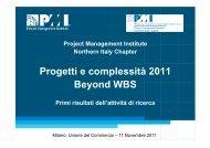 Progetti e complessità 2011 Beyond WBS - PMI-NIC