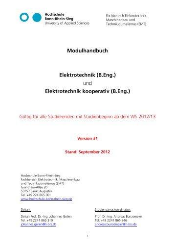 Antrag EA - Fachbereich Elektrotechnik, Maschinenbau und