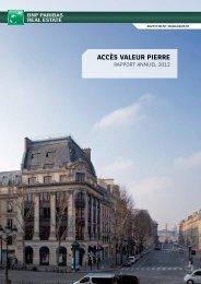 Rapport annuel Accès Valeur Pierre 2012. - Primaliance