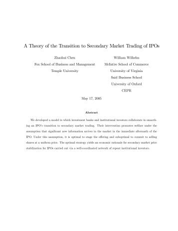 A Theory of the Transition to Secondary Market Trading of IPOs