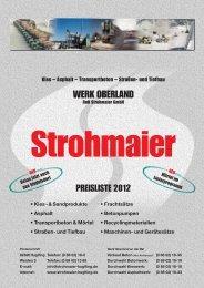 Preisliste 2012 - Werk Oberland Rolf Strohmaier GmbH