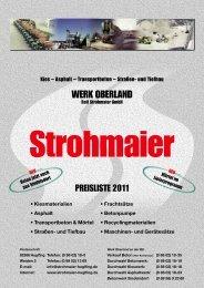 Werk Oberland Rolf Strohmaier GmbH Preisliste 2011