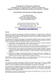 A geração dos indicadores e análise dos resultados ... - INPE/OBT/DGI