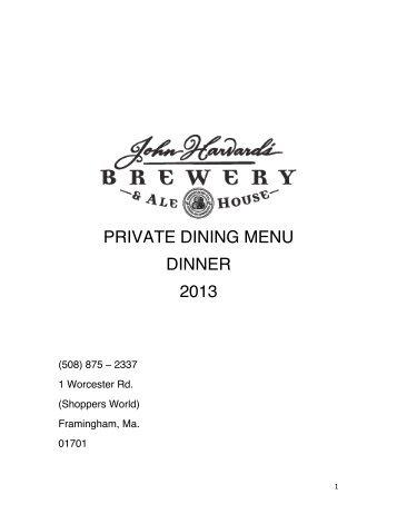 PRIVATE DINING MENU DINNER 2013 - John Harvard's
