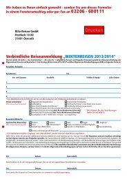 """Verbindliche Reiseanmeldung """"WINTERREISEN 2013/2014"""""""