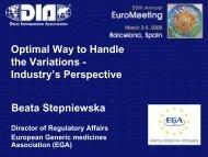 DIA 2007 Annual Meeting - European Generic medicines Association