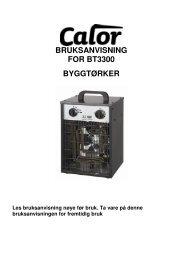 BRUKSANVISNING FOR BT3300 BYGGTØRKER - Novaplan.no
