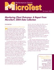 Monitoring Client Outcomes: A Report from MicroTest's 2004 ... - Field