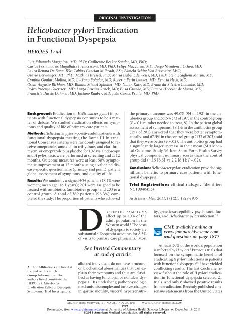 Helicobacter pylori Eradication in Functional Dyspepsia