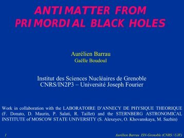 ANTIMATTER FROM PRIMORDIAL BLACK HOLES - IN2P3