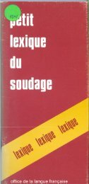 Petit Lexique du Soudage - Office québécois de la langue française