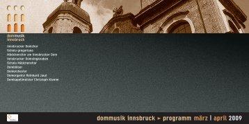 dommusik innsbruck > programm märz | april 2009