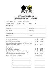 APPLICATION FORM TEACHER-ACTIVITY LEADER - STS