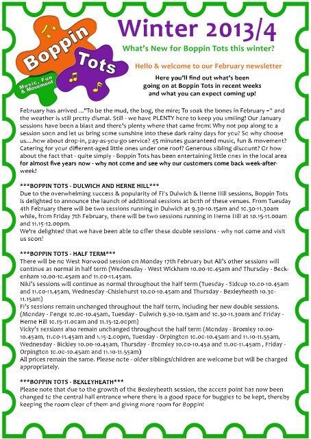 2014-02 Boppin Tots February Newsletter