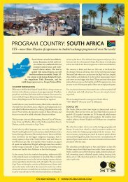 PROGRAM COUNTRY: SOuTH afrICa - STS