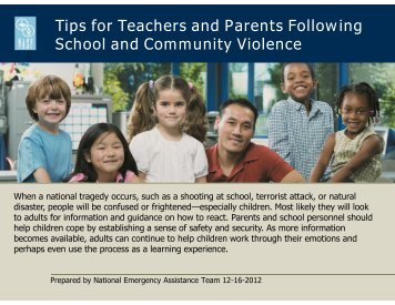 Tips for Teachers and Parents Following School and Community ...
