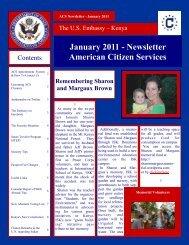 January 2011 - Newsletter American Citizen Services - Nairobi
