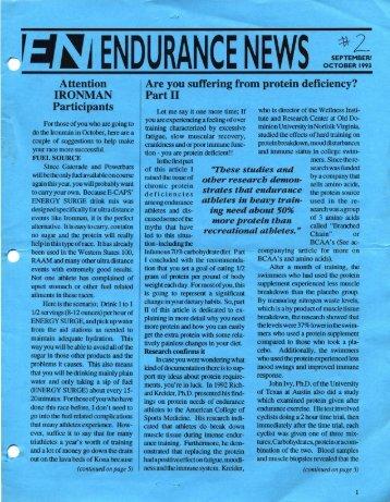 ,:t~iENDURANCE NEWS OCTOBER 1993 - Hammer Nutrition