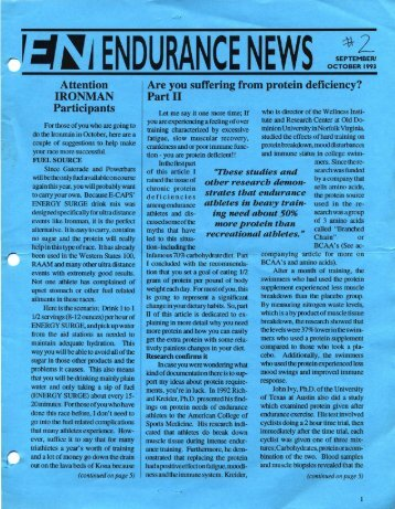 ,:t~iENDURANCE NEWS OCTOBER 1993 - Hammer Nutrition