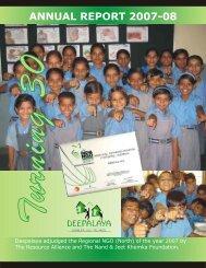 Deepalaya Annual Report 2007-2008