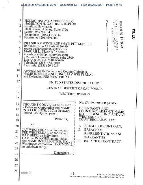 Case 2:09-cv-03088-R-AJW Document 13 Filed 06/26/2009 Page 1 ...