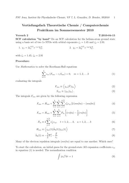Vertiefungsfach Theoretische Chemie / Computerchemie Praktikum ...