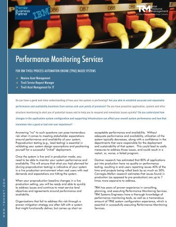 Performance Monitoring Services - Total Resource Management