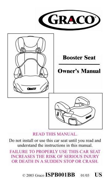 booster seat owner s manual infant car seats com rh yumpu com graco car seat manual online 01124 graco car seat manual lapb0211a