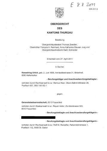 OBERGERICHT DES KANTONS THURGAU - VgT