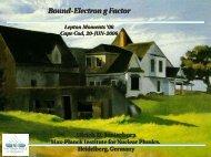 BoundElectron g Factor - G-2 group