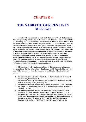 The Sabbath - Our Rest Is In Messiah - Unleavenedbread.co.za