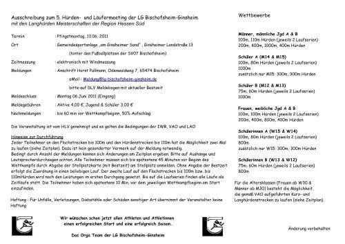 Flyer Hürdenmeeting 2011 - LG Bischofsheim-Ginsheim