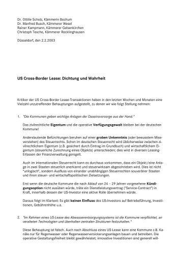 US Cross-Border Lease: Dichtung und Wahrheit - attac Marburg
