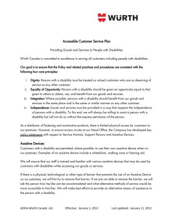 Accessible Customer Service Plan Assistive Devices - Wurth Canada