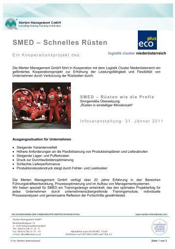 SMED – Schnelles Rüsten - Merten Management GmbH