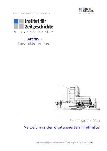 Verzeichnis der digitalisierten Findmittel im Archiv - Institut für ...