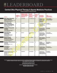 Physical Therapy & Sports Medicine Practices - Columbus CEO