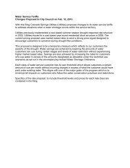 Proposed Water Tariff - Colorado Springs Utilities
