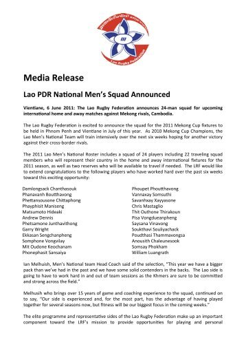 LMNT 2011 Media Release - Lao Rugby Federation