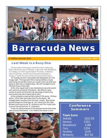 July 23, 2013 Newsletter - Cary Barracudas