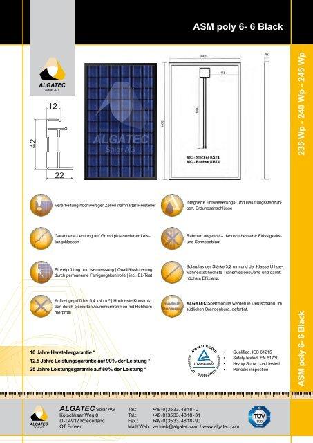 ASM poly 6-6 Black 235/240/245 - Activity Solar