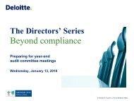 Presenters - Center for Corporate Governance - Deloitte