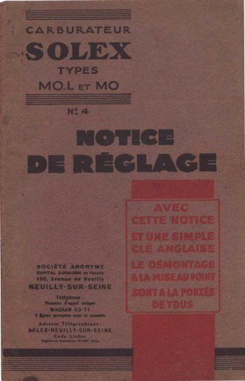 CARBURATEUR S OLEX TYPES MO.L ET MO N_ 4 NOTICE IDE ...